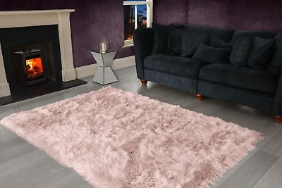 Blush Pink Large SHAGGY Floor RUG Soft SPARKLE Shimmer Extra Thick 9cm Pile 7