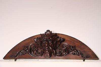 19C French Gothic Fantasy Carved Oak Mythological Gargoyle Mask Pediment PAIR 3
