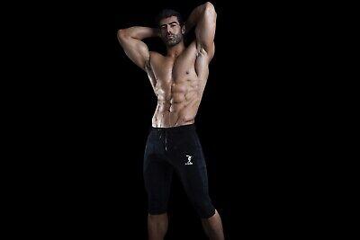 DEMIG Mens Black Yoga Pants Athletic 3//4 Elastic Waist Training Joggers
