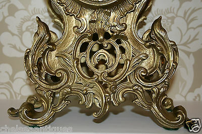 ANTIQUE Louis XV French Bronze Clock Gilt Ormolu Mantel Tall/Large Ornate/Rococo 5