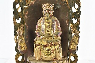 Antique Chinese Red Gilt Wood Carved Statue Figure Guan Yin / Kwan Yin, 19th c 2