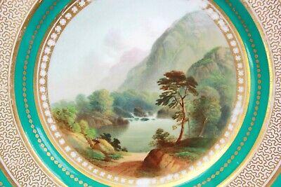 Antique Fine English Porcelain Plate Foot of Snowdon Pat 2399 Circa 1850 2