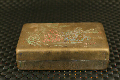 Chinese bronze hand carved  figure statue inkpad seal box decorate gift 6