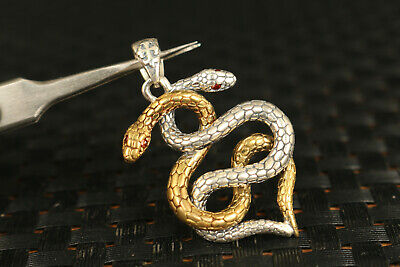 solid Silver Hand Carved Dual Snake Statue Pendant Netsuke gift decorate 3