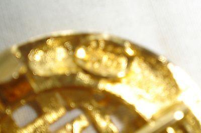 Vintage Dotty Smith Double Round Locking Oriental Design Gold Belt Buckle Signed 6