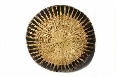 """VINTAGE 18"""" 1940's CHINESE BAMBOO & CANE HAND WEAVED BASKET w LID NAME on HANDLE 11"""