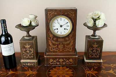 Gorgeous Antique 19th c French Marquetry inlaid Charles X wood clock set urns 2