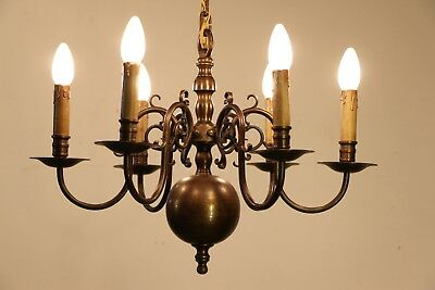 Large antique 8 arm Dutch Angels chandelier polished brass chain and ceiling cup 12
