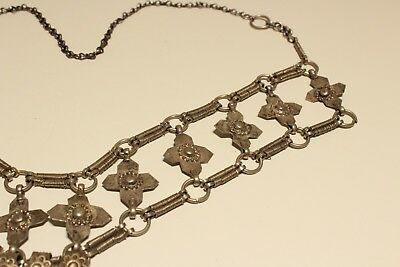 Rare Post Medieval Unique Hand Made Low Sample Silver Necklace With Crosses 6