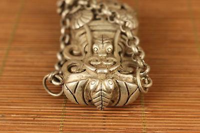 Nice tibet silver hand carved flower shou netsuke not snuff box Netsuke 3