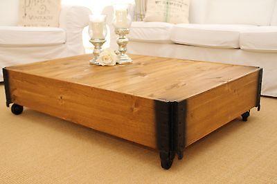 Couchtisch Wohnzimmertisch Sofatisch Holz massiv vintage shabby loft retro desi