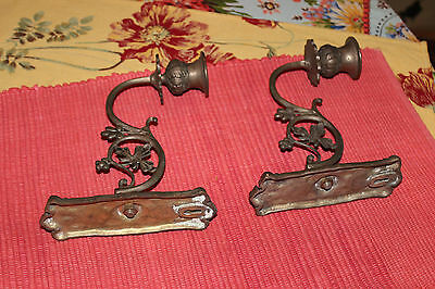 Superb Victorian Style Wall Mounted Candlestick Holders-Pair-Flower Design-LQQK 5