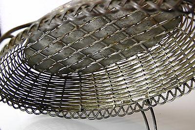 Korb mit Henkel geflochten, Metall, sehr schönes Muster 40er 4