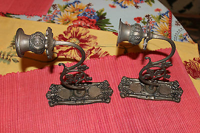 Superb Victorian Style Wall Mounted Candlestick Holders-Pair-Flower Design-LQQK 2