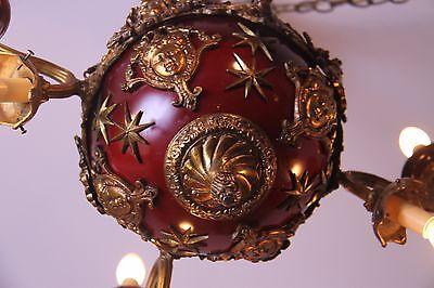 Vintage Brass/Bronze Spherical Chandelier Cherub/Masks/Stars 5