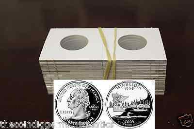 100 QUARTER 2x2 Coin Holder Flip Mylar Cardboard + Storage Box GUARDHOUSE Case 4