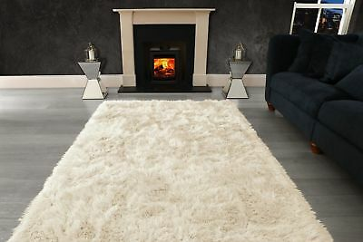 Ivory Cream Large SHAGGY Floor RUG Soft SPARKLE Shimmer Extra Thick 9cm Pile 5