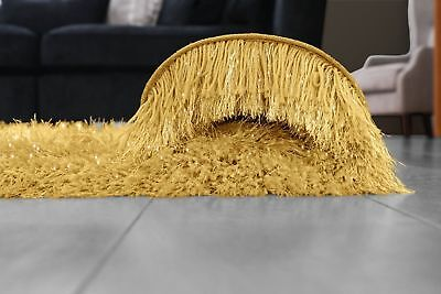 Ochre Yellow Large SHAGGY Floor RUG Soft SPARKLE Shimmer Extra Thick 9cm Pile 3