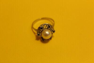 Damen Ring 585 Gold  14ct. 1 Perle 6 Saphir, 18mm #8154 6