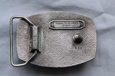 Vintage Indiana Metal Craft Tennis Rackets Belt Buckle 1977 4