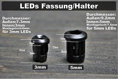20x LED Halter 3//5//8//10 mm Leuchtkappe Fassung Chrom Clip Beleuchtung Schraube