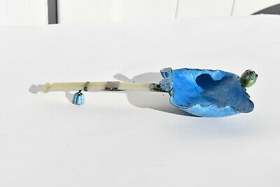 Antique Chinese Cloisonne Lotus Leaf Shaped Ladle /Spoon With Real Jade Handle 5