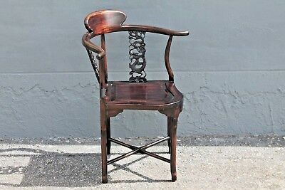 ASIAN EARLY 20thc HIGHLY CARVED- MAJORLY DECORATIVE CORNER CHAIR 6