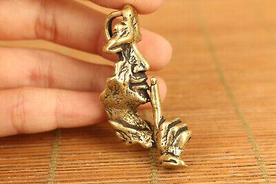 copper casting wise man listener statue pendant netsuke collectable ornament 4