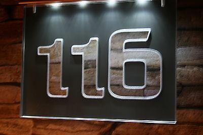 Solar Hausnummer  LED 185x135 Edelstahl Schild Solarleuchte 3-D Effekt