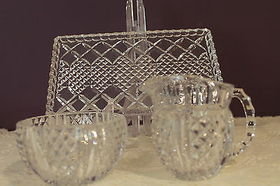 Beautiful Cut Glass Cream, Open Sugar And Tray 2