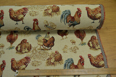 Rustic Tapestry Chicken Hens Rooster Curtain Upholstery Cushions Designer Fabric