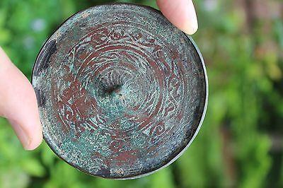 Genuine Islamic Persian Middle Eastern bronze mirror, circa 900-1100 AD 6