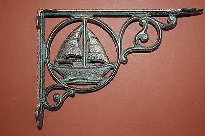 (2)Pcs,sailboat Shelf Decor, Shelf Brackets,cast Iron, Bronze-Look, Boating B-32 3