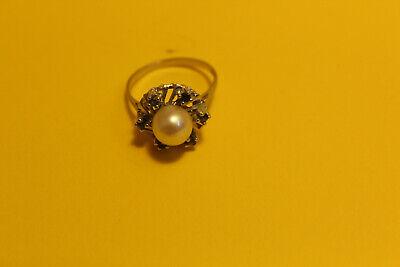 Damen Ring 585 Gold  14ct. 1 Perle 6 Saphir, 18mm #8154 5