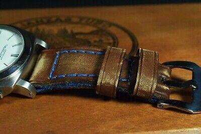 Correa Reloj Genuino Cuero Vintage Apta Panerai Etc Ma Strap Colorum Marron Azul 10