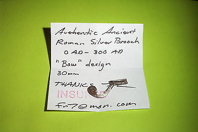 SUPERB Ancient ROMAN SILVER BOW BROOCH old jewelry artifact old antique fibula
