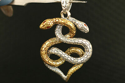 solid Silver Hand Carved Dual Snake Statue Pendant Netsuke gift decorate 2