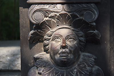 19C English Carved Oak Figural Jester Griffin/Gargoyle/Dragon Fireplace Mantel 5