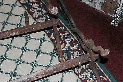 Antique Cast Iron Fireplace Andirons-Unusual Twisted DNA Strand-Large Andirons 7
