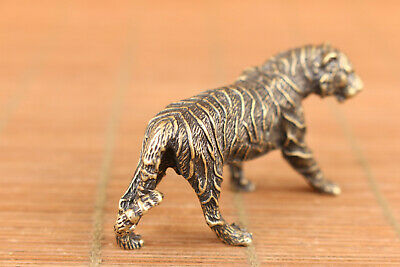 rare chinese old bronze art tiger statue figure collectable good stand 3