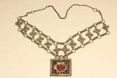 Rare Post Medieval Unique Hand Made Low Sample Silver Necklace With Crosses 2