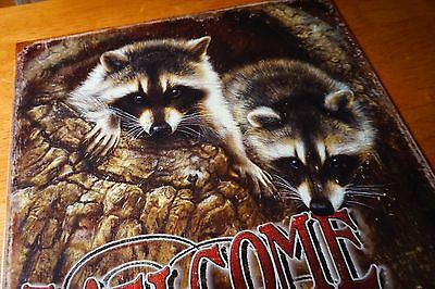 WELCOME TO OUR HIDEOUT Raccoon Sign Tin Vintage Garage Bar Decor Old Rustic