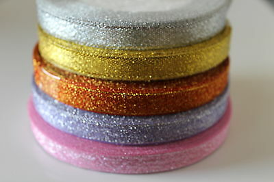 Gold,Silver,Pink,Lilac,Green,Or 25yds Sparkly Glitter Organza Ribbon 6 to 12mm