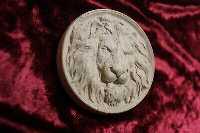 """Decorative lion head, wooden Carved lion rosette. Oak wooden element. 4"""" 3"""