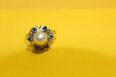 Damen Ring 585 Gold  14ct. 1 Perle 6 Saphir, 18mm #8154 2