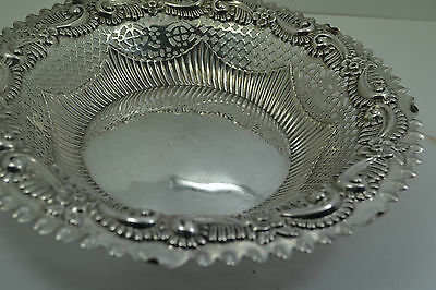 "Victorian Sterling Silver Bread bowl Repousse pierced border 9 "" M Bros 1891. 6"