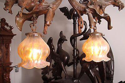 19C French Bronze Winged Griffin/Gargoyle/Dragon Chandelier 7