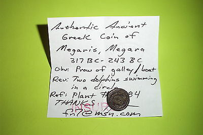 Ancient GREEK COIN dolphins prow MEGARIS MEGARA 317 BC boat old rare treasure 4