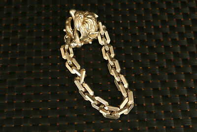 chinese rare old miao silver hand carved dog head statue bracelet decorate 6
