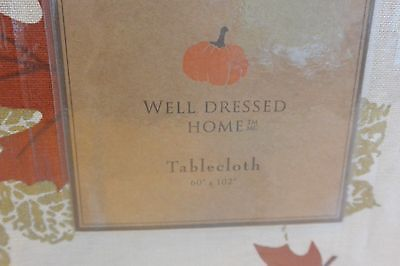 "Well Dressed Home Autumn Leaves Thanksgiviing Tablecloth 100/% Cotton 60x102/""FALL"